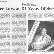 Profile on Clarence Larson in the Millbrae Sun Wednesday, May 4, 1983